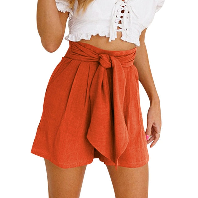 High Waist Casual Button Shorts