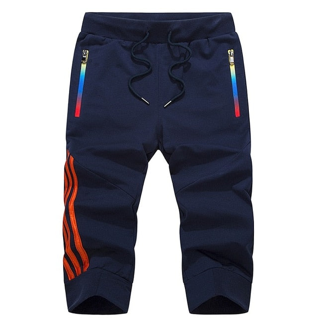 Men Striped Men's Sportswear Short Sweatpants