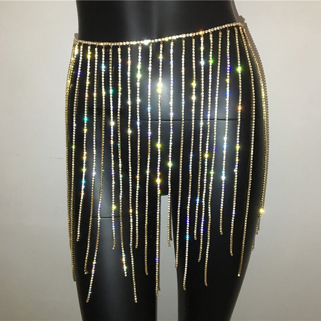 Rhinestone metal chain skirt and deep v crop top