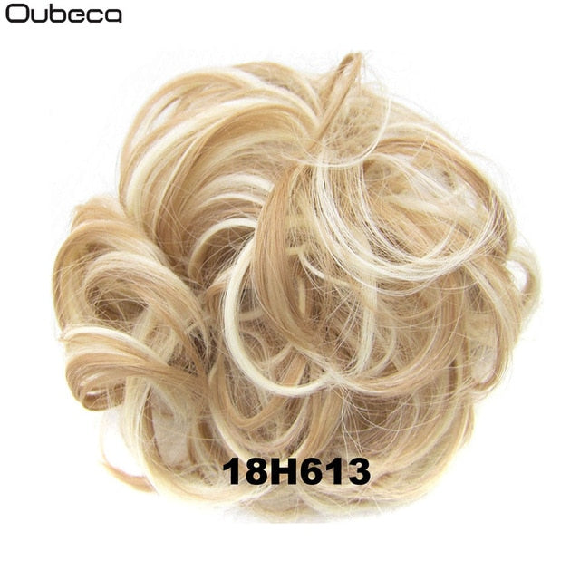 Oubeca Synthetic Flexible Hair Buns Curly Scrunchy Chignon Elastic Messy Wavy Scrunchies Wrap For Ponytail Extensions For Women|Synthetic Chignon