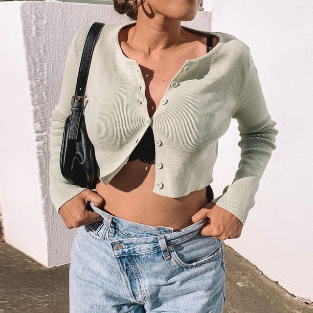 Sexy Long Sleeve Open Front Button Up Knitting Cardigan Crop Top