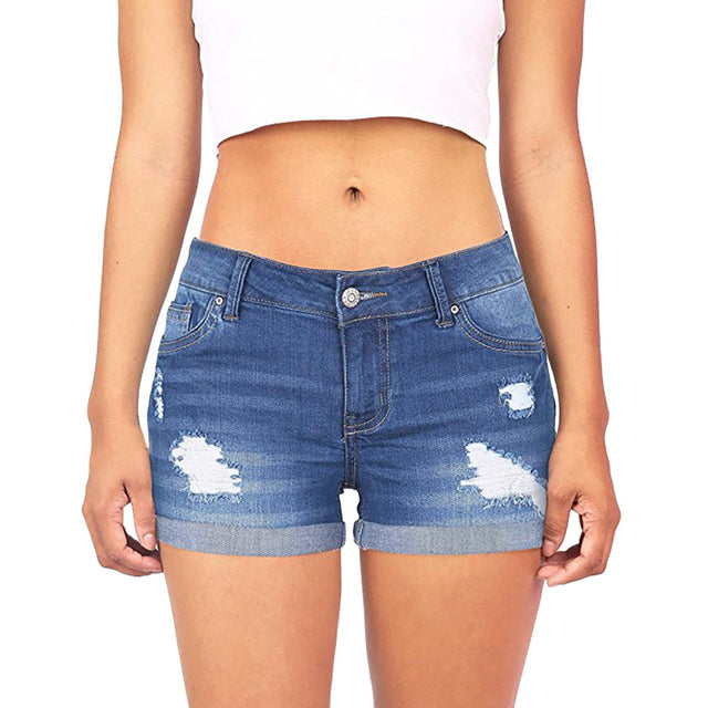 Low Waisted Ripped Hole Short Mini Jeans