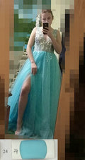 Sexy Tulle Long Prom Dresses 2020 New Arrival Backless Sweep Train Beaded A Line Special Occasion Evening Gowns Custom Made|Prom Dresses