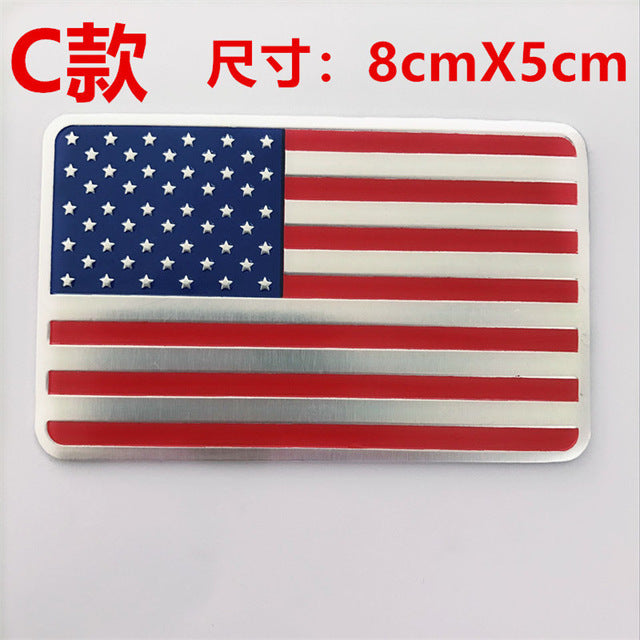 USA Flag Aluminum Alloy Car Stickers Automobile Motorcycle Exterior Accessories USA