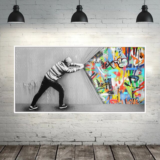 Behind The Curtain Street Art Canvas Paintings