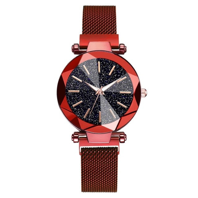 Luxury Starry Sky Stainless Steel Mesh Bracelet Watches For Women Crystal Analog Quartz Wristwatches Ladies Sports Dress Clock|Women's Watches