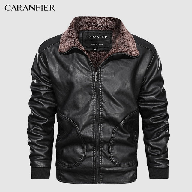 Leather Jackets Motorcycle Stand Collar Zipper Pockets