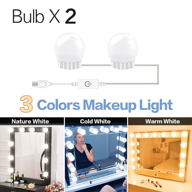3 Modes Colors Makeup Mirror Light Led Touch Dimming Vanity Dressing Table Lamp Bulb USB 12V Hollywood Make Up Mirror Wall Lamp|Vanity Lights