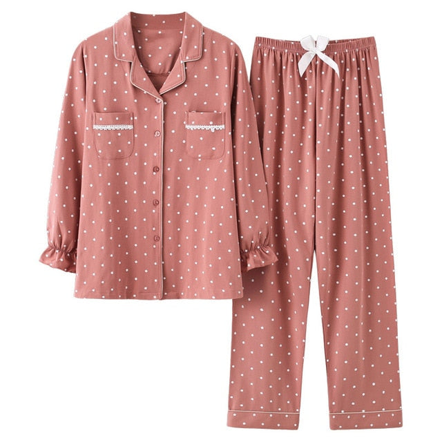 Cotton Pajamas Long Sleeve Tops+Pants With Pockets