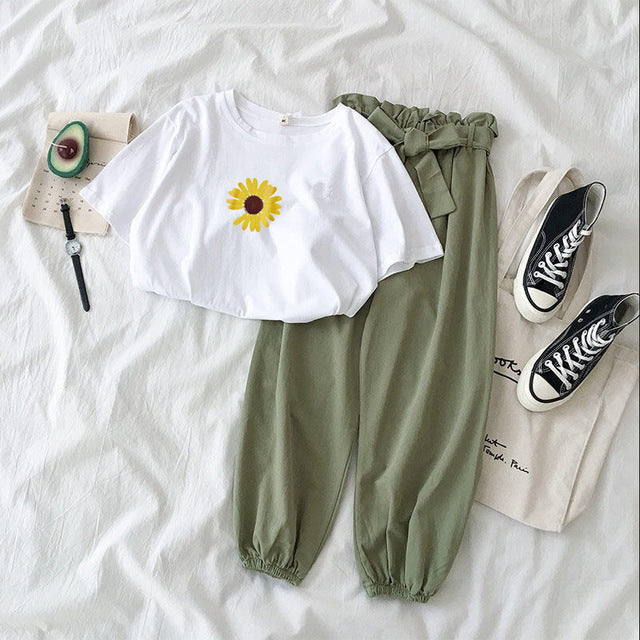 Casual Loose White Tops And Pant 2 Piece Set