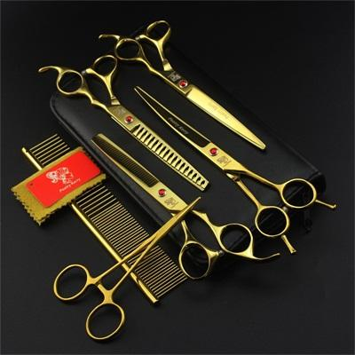 7 Inch Professional Japan 440C Pet Dog Grooming Scissors Set Dog Shears Hair Cutting Thinning Curved Scissors With Comb Bag|Dog Scissors
