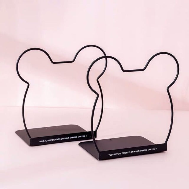 Metal Book Holder Rabbit Cat Desktop Bookends Desk Organizer Stand Shelf Office 2 pieces