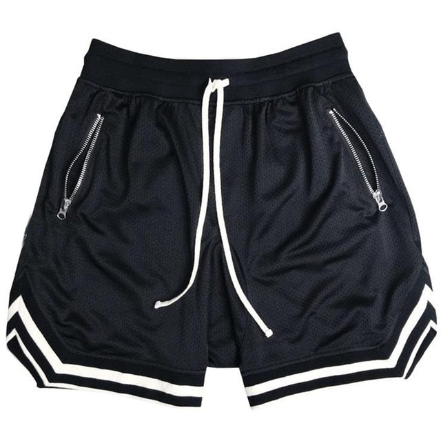 Solid color mesh shorts