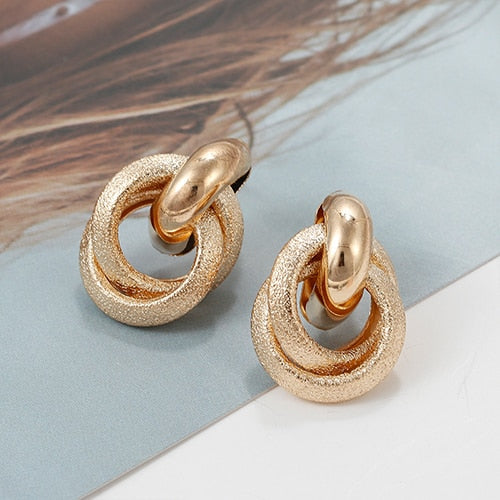 Gold Color Alloy Drop Earrings