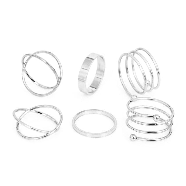 Round Hollow Geometric Rings Set For Women