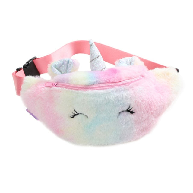 2019 Cute Unicorn Female Waist Bag Kids Fanny Pack Cartoon Plush Women Belt Bag Fashion Travel Phone Pouch Chest Bag|Crossbody Bags