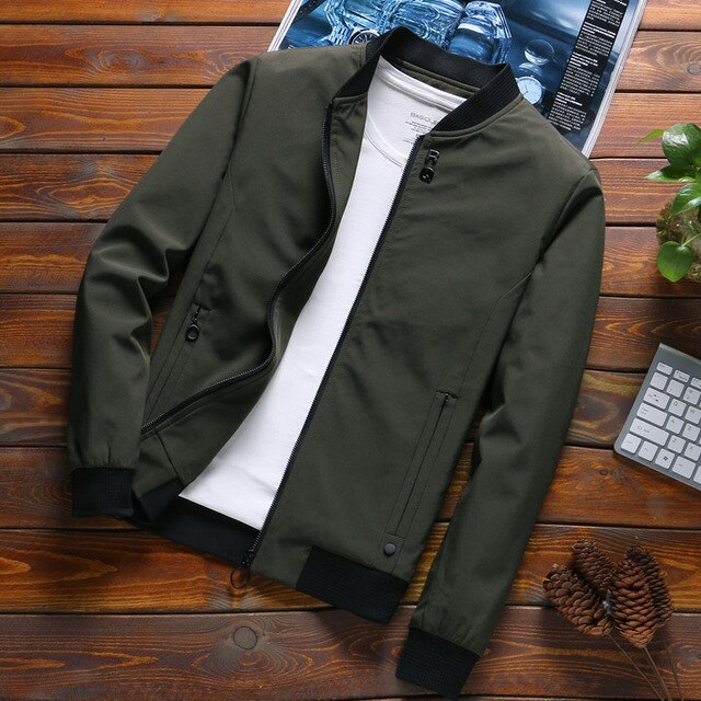 Solid Autumn Mens Jackets
