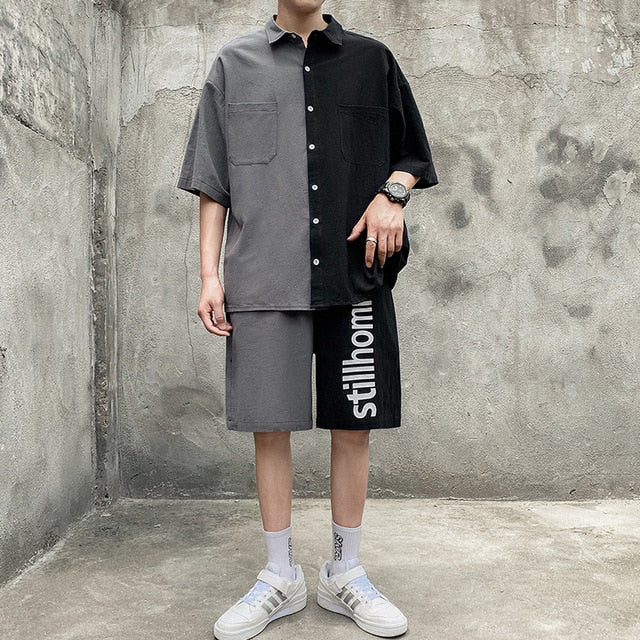 Men's Set Shirt Shorts Patchwork