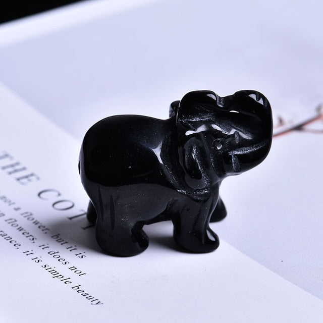 Natural Rose Stone Elephant Crystal
