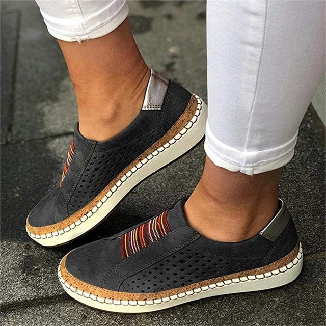 Hand stitched Striped Breathable Elastic Band Casual Flats