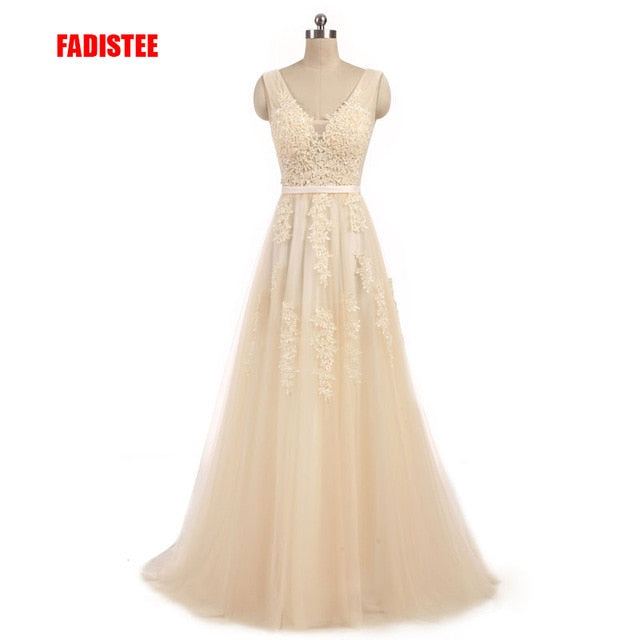 A line dress sweep train bow dress lace style