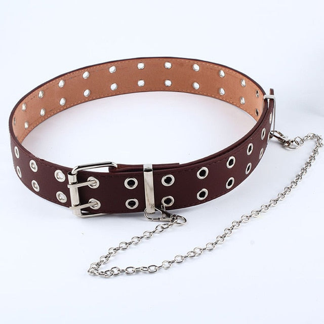 Hole Eyelet Waistband with Eyelet Chain Decorative Belts