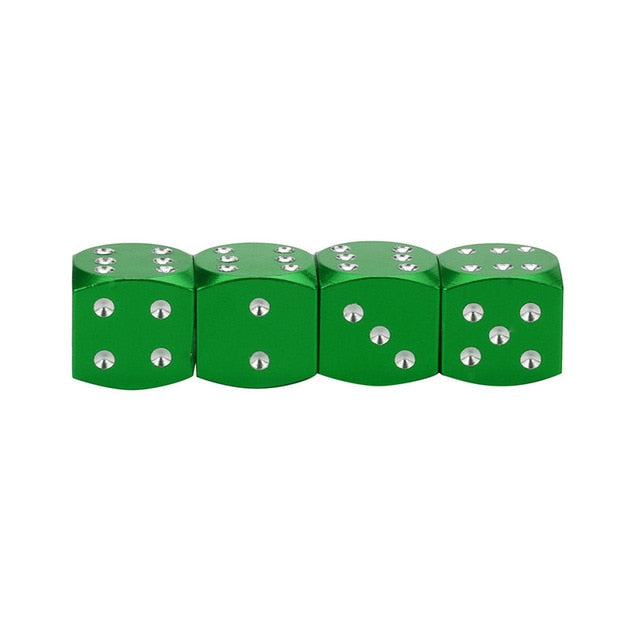 4Pc Dice Dust Valve Caps Cars
