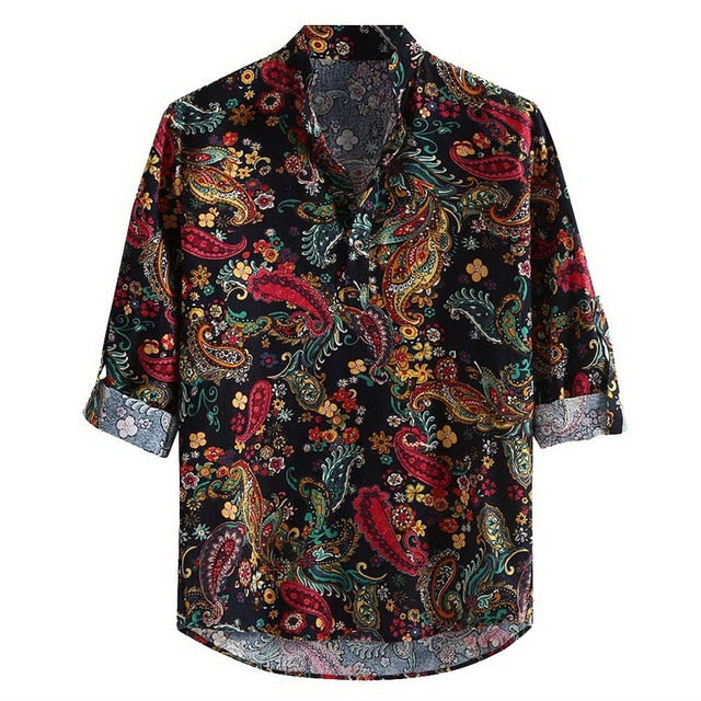 Breathable Shirt Men's Casual Print