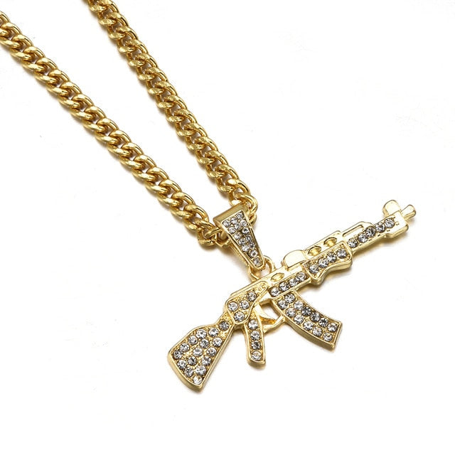 Fashion Choker Necklaces Pendant Crystal Rhinestone Chain Necklace Women Men Punk Chains