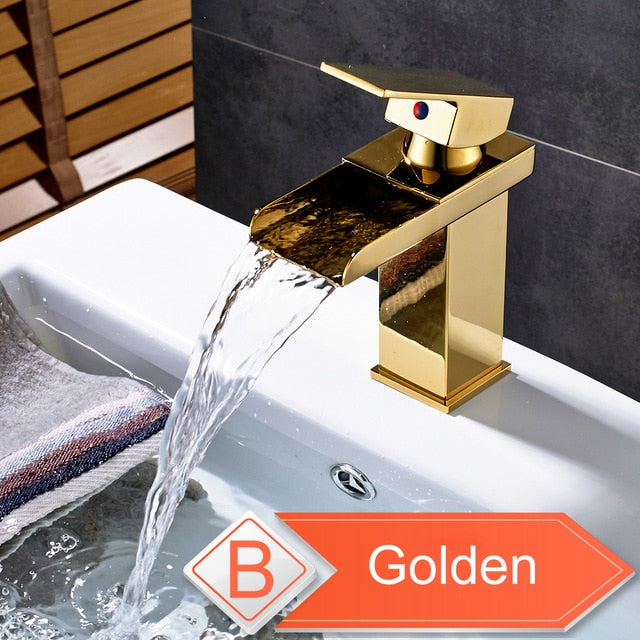 Hot cold basin faucet Waterfall Bathroom Vanity Sink Faucet