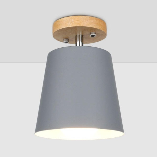 LED Ceiling Light Iron Wood
