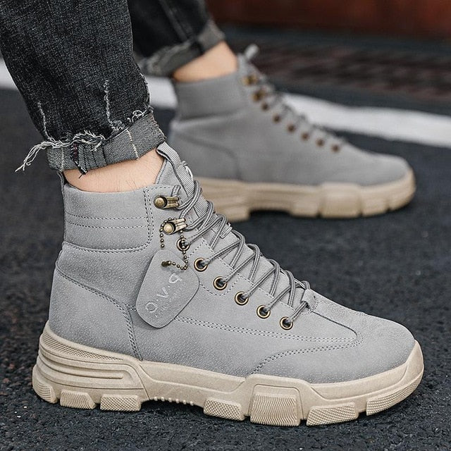 Men Boots Leather Waterproof Lace Up Military Boots Men 2020 New Autumn Winter Ankle Lightweight Shoes For Men Casual Non Slip|Basic Boots