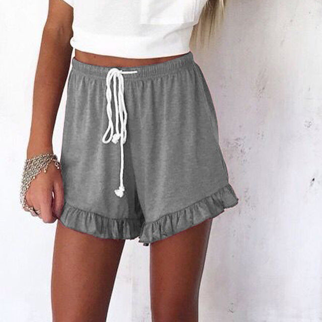 shorts elastic drawstring waist women's high waist