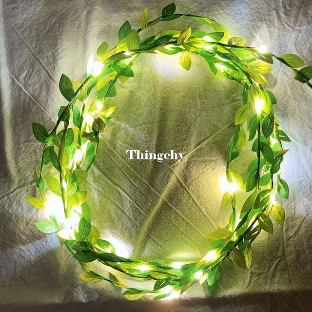 tiny leaves garland fairy light led copper wire Battery string lights for Wedding forest Table Christmas home party Decoration|fairy fairy|battery led wirewire garland