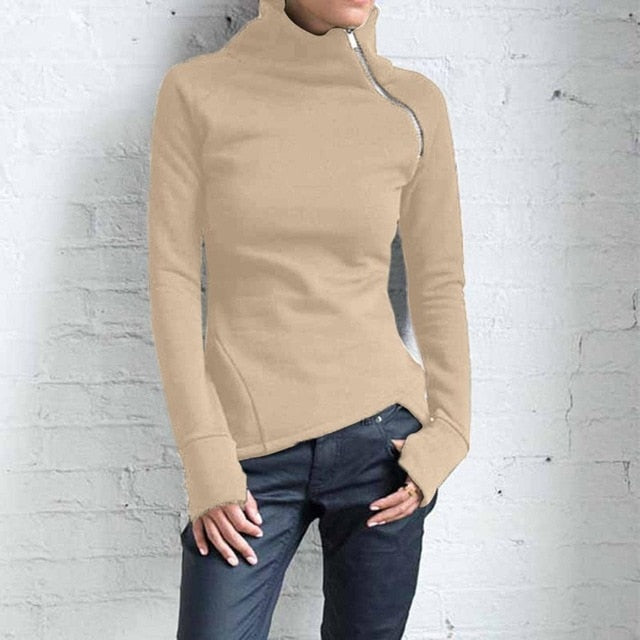 Solid Blouse Long Sleeve girl Pullover Turtleneck Zipper