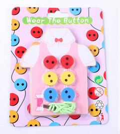 Montessori Sew On Buttons Beads Lacing Board Wooden Toys