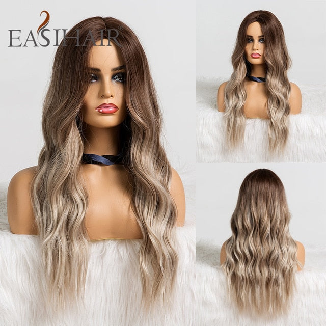 EASIHAIR Long Black to Brown Ombre Wigs Synthetic Wigs For Black/White Women Glueless Wavy Cosplay Wigs Heat Resistant Daily Wig|Synthetic None-Lace Wigs