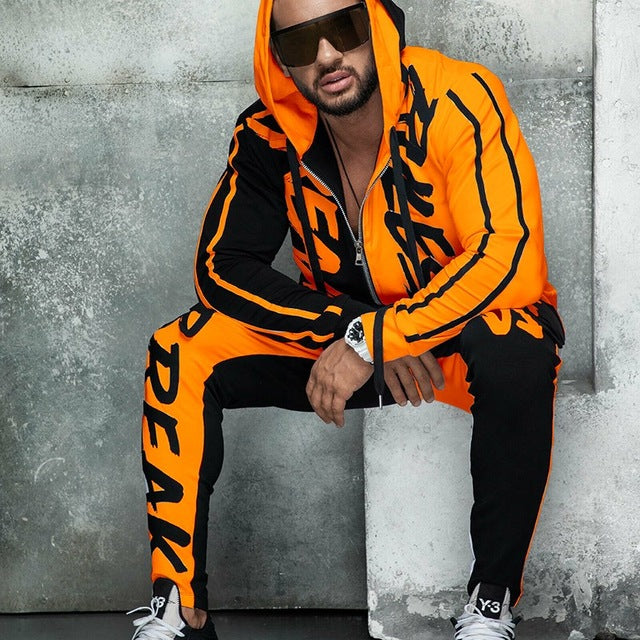 Mens Tracksuit Casual Hooded Tops and Pants 2 Piece Set