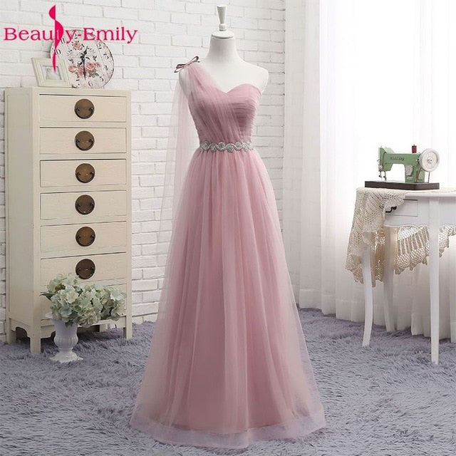Hot V Neck Bridesmaid Dresses long for Women Elegant 2020 A Line Sparkly Tulle Pink Party Dress for Wedding Party Plus Size|Bridesmaid Dresses