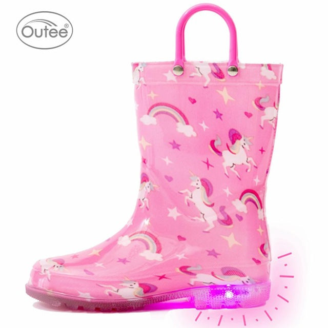 Rain Boots For Little Kids Children Boys Girls Toddler Baby Light Up Waterproof Shoes Rainboots Dinosaur Unicorn Shark Pink Blue|Boots