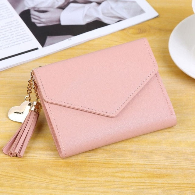 Tassel Pendant Wallet PU Wallet Coin Purse Women Ladies C