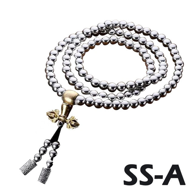 Outdoor Buddha Beads Self Defense Hand Bracelet Necklace Chain