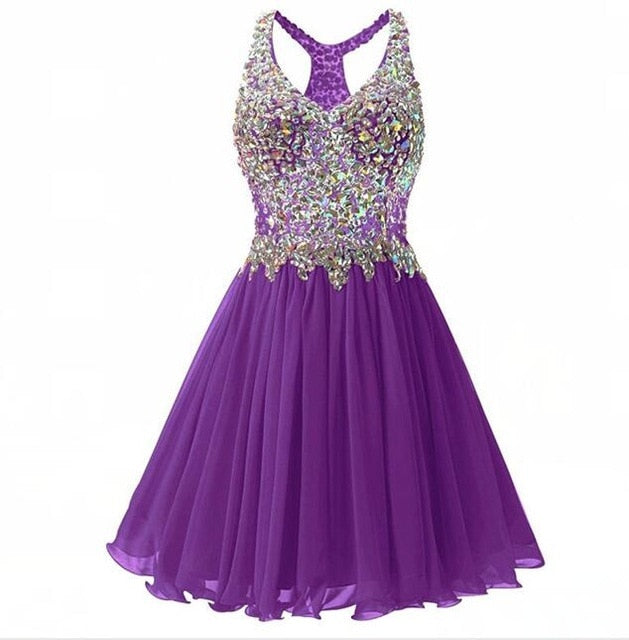 ANGELSBRIDEP V Neck Homecoming Dresses Sexy Above Knee Cocktail Dress Fashion Plus Size Crystal Beads Mini 8th Grade Party Gowns|Homecoming Dresses