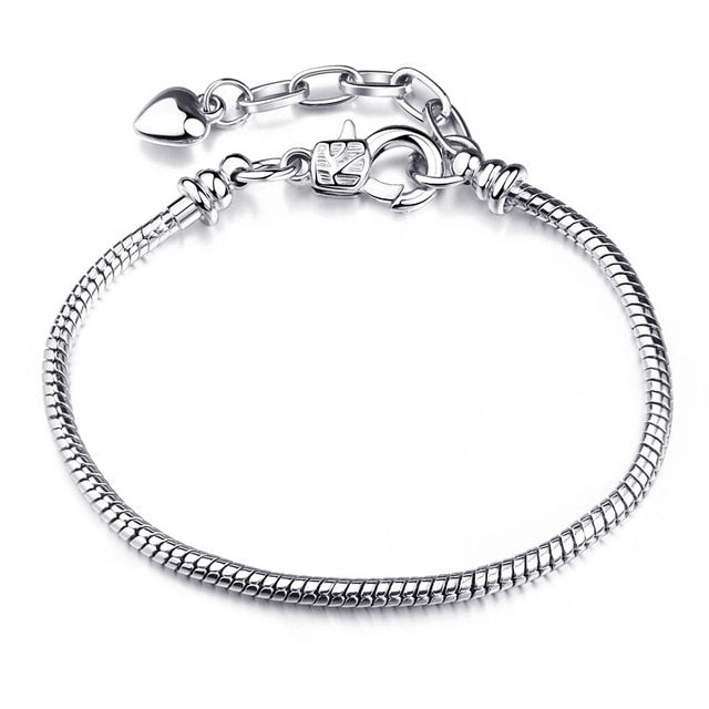 BAOPON High Quality Authentic Silver Color Snake Chain Fine Bracelet Fit European Charm Bracelet for Women DIY Jewelry Making|Charm Bracelets