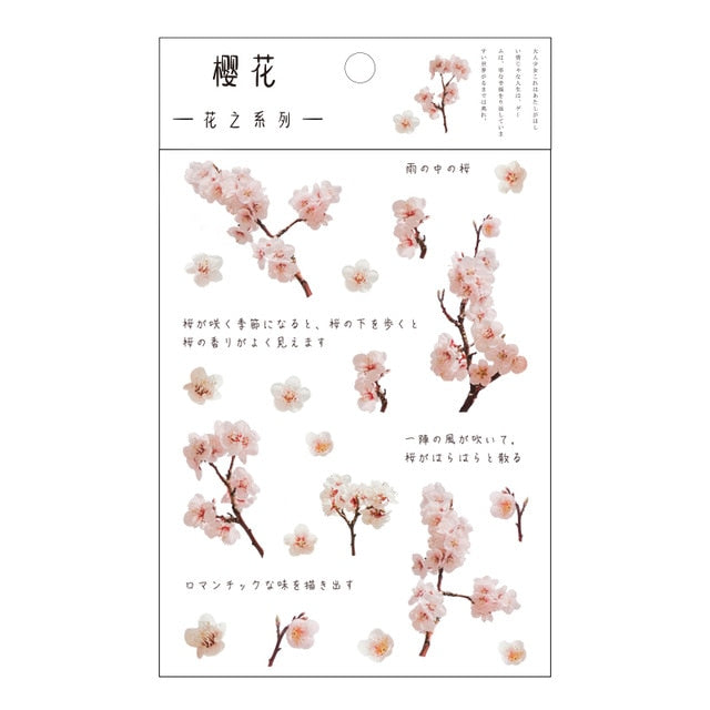Mr.Paper 12 Designs Natural Daisy Clover Japanese Words Stickers Transparent PET Material Flowers Leaves Plants Deco Stickers|Assorted Stickers