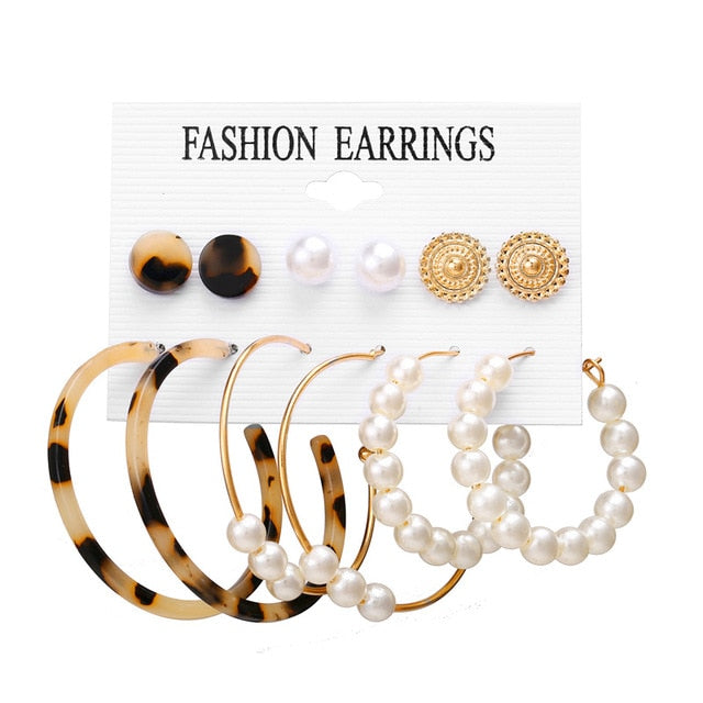 Simple Plain Gold Color Metal Pearl Hoop Earrings