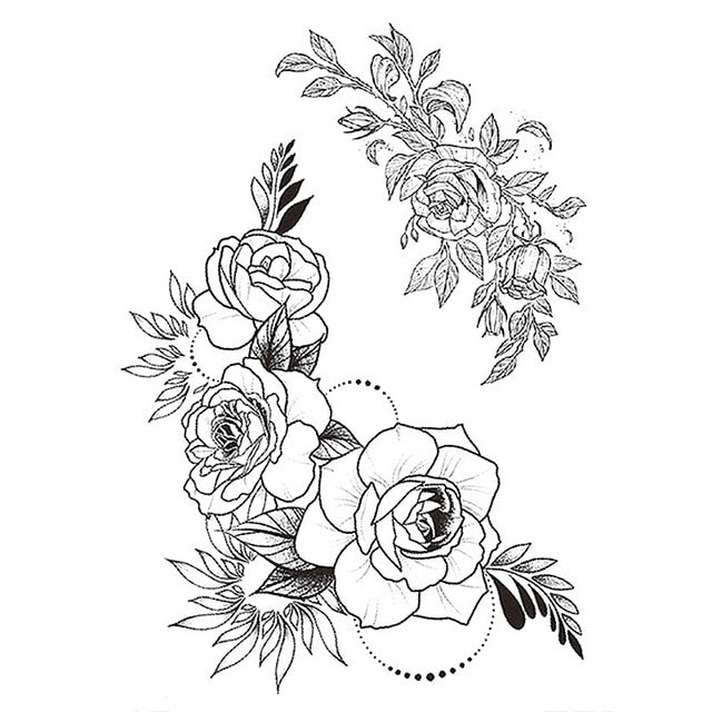 1 PC Fashion Women Girl Temporary Tattoo Sticker Black Roses Design Full Flower Arm Body Art Big Large Fake Tattoo Sticker|Temporary Tattoos