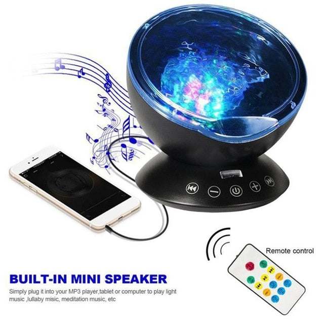 Sound Activated LED Starry Water Wave Music Projector Light