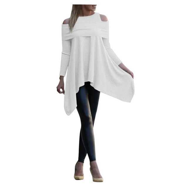 Solid Long Sleeve Irregular Loose Pullover Tops