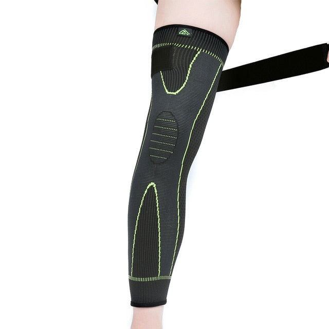 Hot elastic yellow green stripe sports lengthen knee pad leg sleeve non slip bandage compression leg warmer for men and women|pad leg|leg protectionknee pads